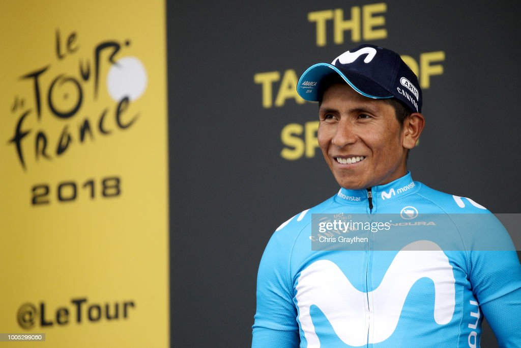 Podium / Nairo Quintana of Colombia and Movistar Team / Celebration / during the 105th Tour de France 2018, Stage 17, a 67km stage from Bagneres-de-Luchon to Saint-Lary-Soulan - Col du Portet 2215m / TDF / on July 25, 2018 in Saint-Lary-Soulan - Col du Portet, France.