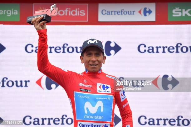 Podium / Nairo Quintana of Colombia and Movistar Team Red Leader Jersey / Celebration / Trophy / during the 74th Tour of Spain 2019, Stage 9 a 94,4km...