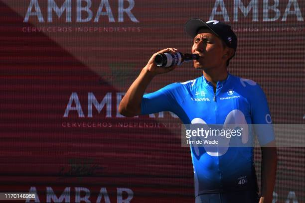 Podium / Nairo Quintana of Colombia and Movistar Team / Óscar Pereiro of Spain Ex Pro-cyclist winner of the TOur of France 2006 / Champagne /...