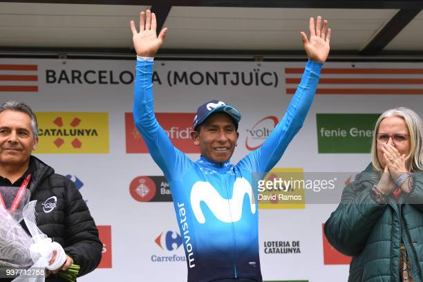 Podium / Nairo Quintana of Colombia and Team Movistar / Celebration / Flowers / during the 98th Volta Ciclista a Catalunya 2018 Stage 7 a 1548km...