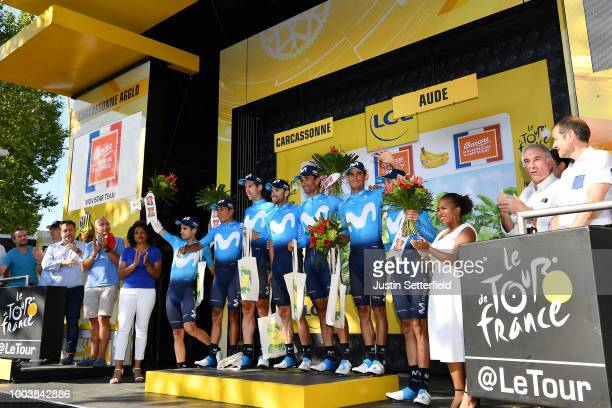 Podium / Nairo Quintana of Colombia / Andrey Amador of Costa Rica / Daniele Bennati of Italy / Imanol Erviti of Spain / Mikel Landa Meana of Spain /...