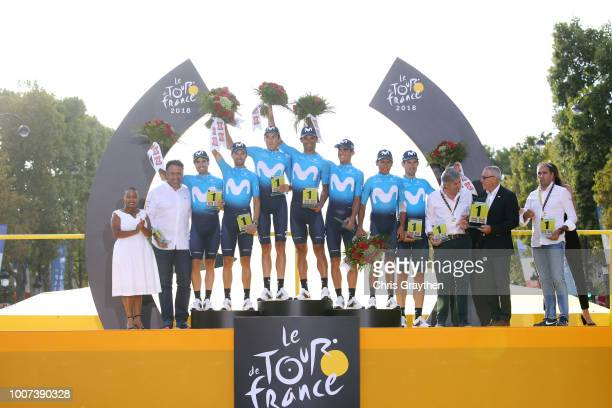 Podium / Nairo Quintana of Colombia / Andrey Amador of Costa Rica / Daniele Bennati of Italy / Imanol Erviti of Spain / Mikel Landa of Spain / Marc...