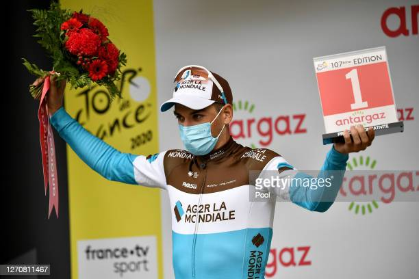 Podium / Nans Peters of France and Team Ag2R La Mondiale Most Combative rider / Celebration / during the 107th Tour de France 2020, Stage 8 a 141km...