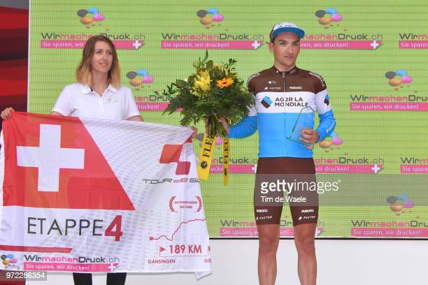 Podium / Nans Peters of France and Team AG2R La Mondiale Most Aggressive Rider / Celebration / Trophy / during the 82nd Tour of Switzerland 2018,...