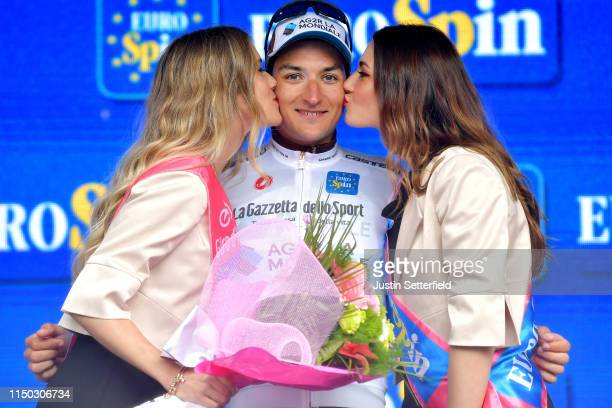 Podium / Nans Peters of France and Team AG2R La Mondiale White Best Young Jersey / Celebration / Miss / Hostess / Flowers / Kiss // during the 102nd...