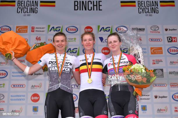 Podium / Nathalie Bex of Belgium and Experza Footlogix Team Silver Medal / Saartje Vandenbroucke of Belgium and Doltcini Van Eyck Sport UCI Women...