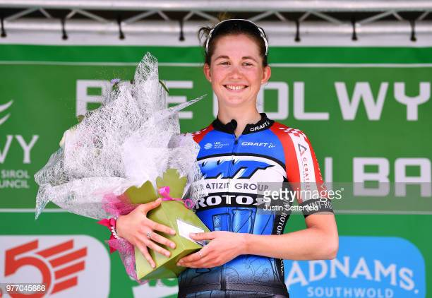 Podium / Nathalie Grinczer of Great Britain and WNT Rotor Procycling Team Best Young Rider / Celebration / during the 5th OVO Energy Women's Tour...