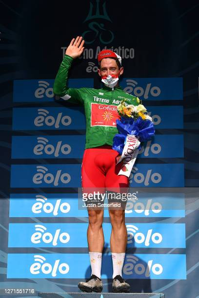 Podium / Nathan Haas of Austria and Team Cofidis Green Mountain Jersey / Celebration / Flowers / Mask / Covid safety measures / during the 55th...