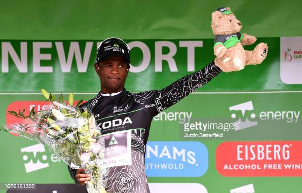 Podium / Nicholas Dlamini of South Africa and Team Dimension Data Black Mountain Jersey / Celebration / during the 15th Tour of Britain 2018 Stage 1...