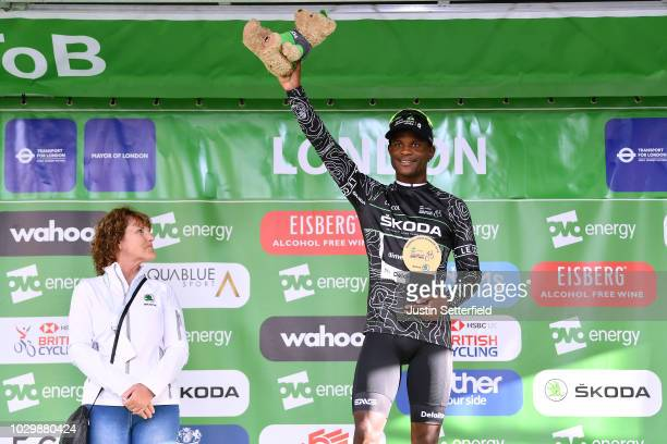 Podium / Nicholas Dlamini of South Africa and Team Dimension Data Black Mountain Jersey / Celebration / during the 15th Tour of Britain 2018 Stage 8...