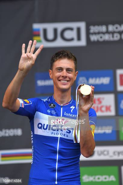 Podium / Niki Terpstra of The Netherlands and Team Quick-Step Floors / Gold Medal Celebration / during the UCI Team Time Trial Men a 62,8km race from...
