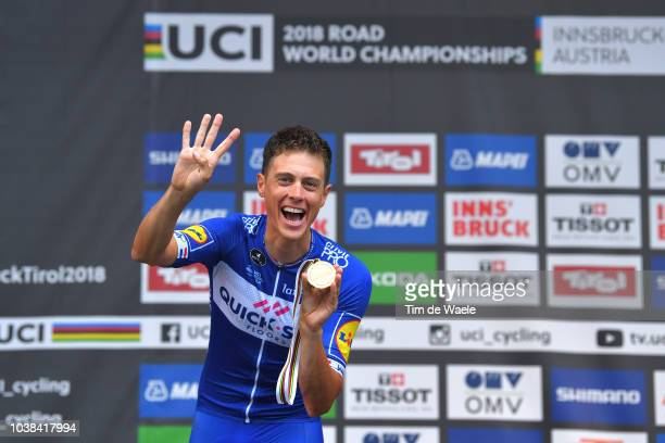 Podium / Niki Terpstra of The Netherlands and Team QuickStep Floors / Gold Medal Celebration / during the UCI Team Time Trial Men a 628km race from...