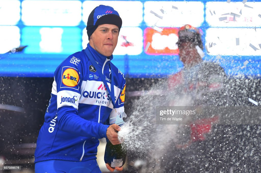 Podium / Niki Terpstra of The Netherlands and Team Quick-Step Floors / Champagne Celebration / during the 61st E3 Harelbeke 2018 a 206,4km race from Harelbeke to Harelbeke on March 23, 2018 in Harelbeke, Belgium.