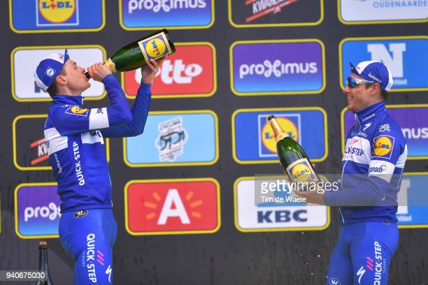 Podium / Niki Terpstra of The Netherlands and Team Quick-Step Floors / Philippe Gilbert of Belgium and Team Quick-Step Floors / Celebration /...