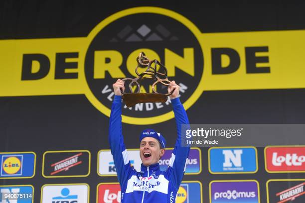 Podium / Niki Terpstra of The Netherlands and Team Quick-Step Floors / Celebration / Trophy / during the 102nd Tour of Flanders 2018 - Ronde Van...
