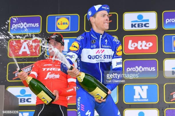 Podium / Niki Terpstra of The Netherlands and Team Quickstep Floors / Mads Pedersen of Denmark and Team Trek Segafredo)/ Celebration Champagne /...