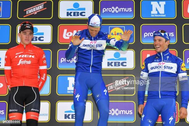 Podium / Niki Terpstra of The Netherlands and Team Quickstep Floors / Mads Pedersen of Denmark and Team Trek Segafredo/ Philippe Gilbert of Belgium...