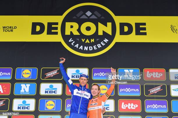Podium / Niki Terpstra of The Netherlands and Team Quickstep Floors / Anna Van Der Breggen of The Netherlands and Boels Dolmans Cycling Team /...
