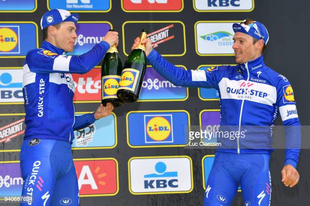 Podium / Niki Terpstra of The Netherlands and Team Quickstep Floors / Philippe Gilbert of Belgium and Team Quickstep Floors / Celebration Champagne /...