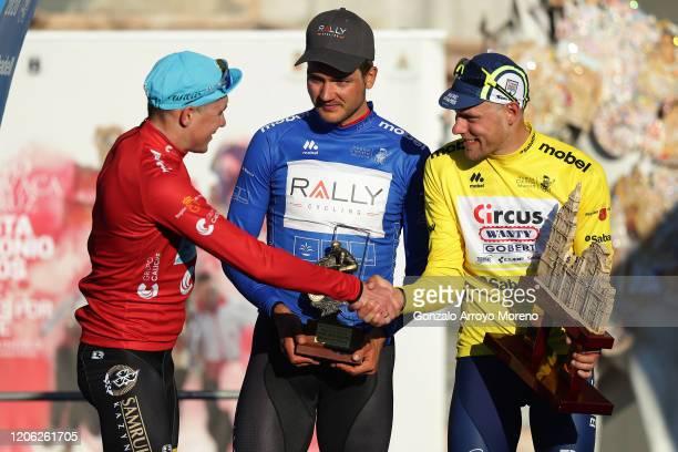 Podium / Nikita Stalnov of Kazahkstan and Astana Pro Team Red Mountain Jersey / Adam De Vos of Canada and Team Rally Cycling Blue Bonus Sprint Jersey...