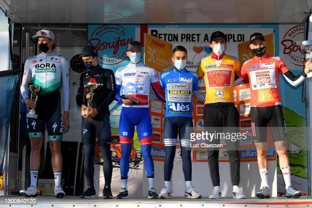 Podium / Nils Politt of German and Team Bora - Hansgrohe, Michal Kwiatkowski of Poland and Team INEOS Grenadiers, Jake Stewart of United Kingdom and...