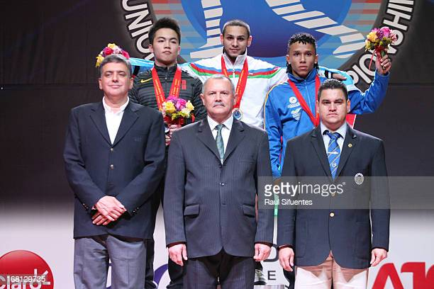 Podium of the Mens 62 kg during day two of the 2013 Junior Weightlifting World Championship at Maria Angola Convention Center on April 05 2013 in...