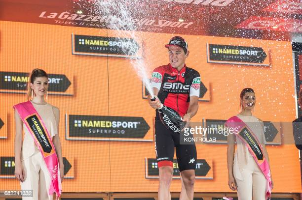 Podium of the sixth stage celebration of the winner Silvan Dillier The sixth stage of the 100th Giro d'Italia Tour of Italy cycling race from Reggio...
