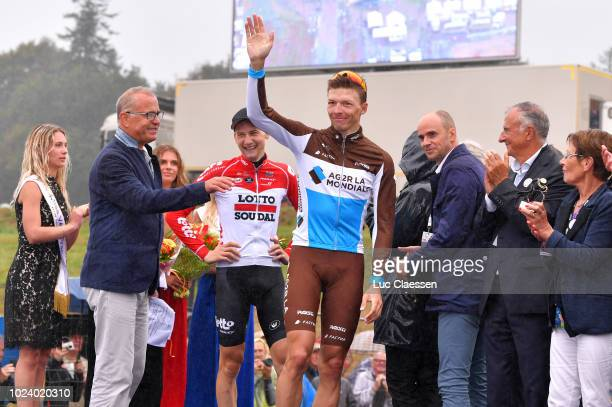 Podium / Oliver Naesen of Belgium and Team AG2R La Mondiale / Celebration / Tim Wellens of Belgium and Team Lotto Soudal / during the 82nd Bretagne...