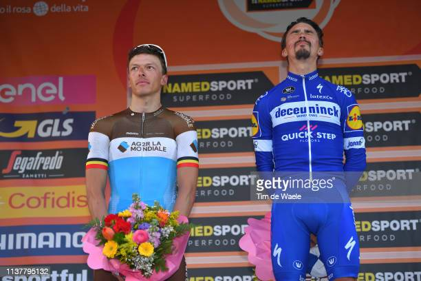 Podium / Oliver Naesen of Belgium and Team AG2R La Mondiale / Julian Alaphilippe of France and Team Deceuninck Quick Step / Celebration /during the...