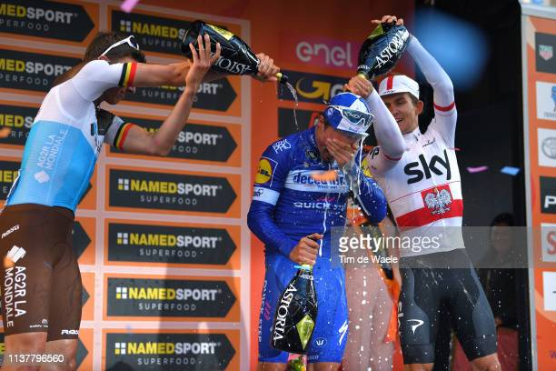Podium / Oliver Naesen of Belgium and Team AG2R La Mondiale / Julian Alaphilippe of France and Team Deceuninck Quick Step / Michal Kwiatkowski of...