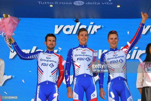 Podium / Olivier Le Gac of France and Team Groupama - FDJ / Tobias Ludvigsson of Sweden and Team Groupama - FDJ / Ignatas Konovalovas of Lithuania...