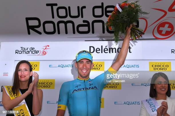 Podium / Omar Fraile Matarranza of Spain and Astana Pro Team / Celebration /during the 72nd Tour de Romandie 2018 Stage 1 a 1666km stage from...