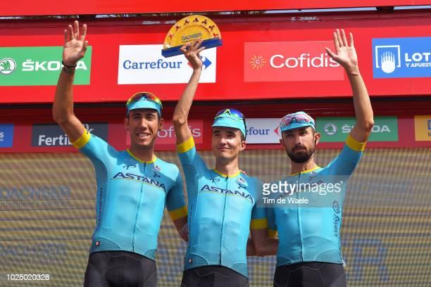 Podium / Omar Fraile of Spain and Astana Pro Team / Pello Bilbao of Spain and Astana Pro Team / Dario Cataldo of Italy and Astana Pro Team /...