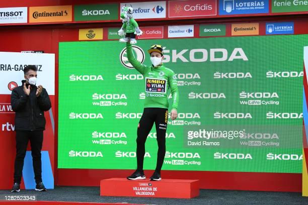 Podium / Oscar Pereiro of Spain Ex Pro-cyclist winner of the Tour of France 2006 / Primoz Roglic of Slovenia and Team Jumbo - Visma Green Points...