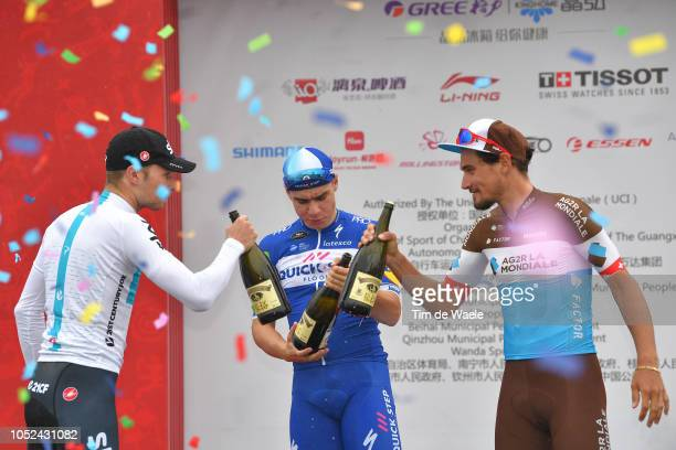 Podium / Owain Doull of Great Britain and Team Sky Most Combative Rider / Fabio Jakobsen of The Netherlands and Team QuickStep Floors Red Leader...