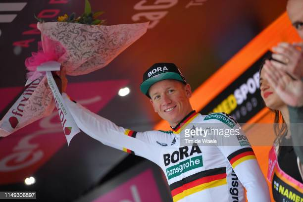 Podium / Pascal Ackermann of Germany and Team Bora - Hansgrohe / Celebration / during the 102nd Giro d'Italia 2019, Stage 5 a 140km stage from...