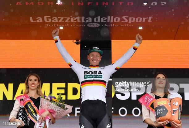 Podium / Pascal Ackermann of Germany and Team Bora - Hansgrohe / Celebration / Miss / Hostess / during the 102nd Giro d'Italia 2019, Stage 5 a 140km...