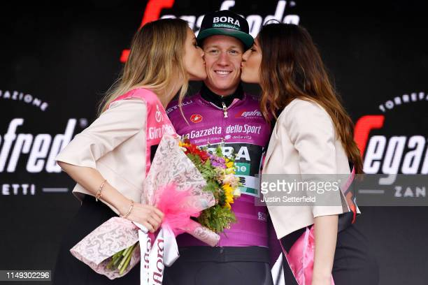 Podium / Pascal Ackermann of Germany and Team Bora - Hansgrohe Purple Points Jersey / Celebration / Miss / Hostess / Kiss / during the 102nd Giro...