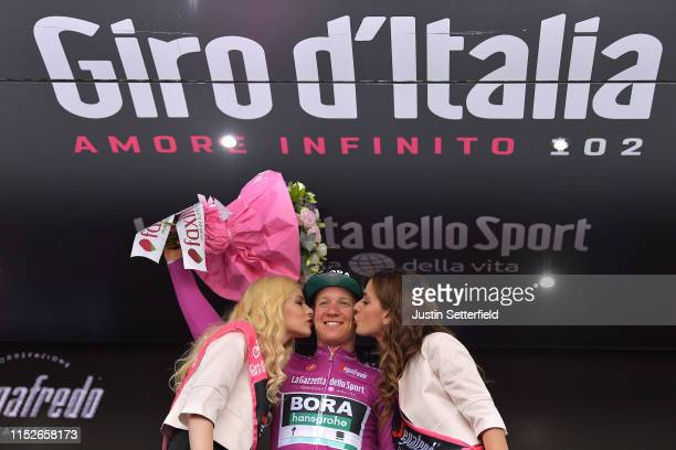 Podium / Pascal Ackermann of Germany and Team Bora Hansgrohe Purple Points Jersey / Celebration / Miss / Hostess / during the 102nd Giro d'Italia...