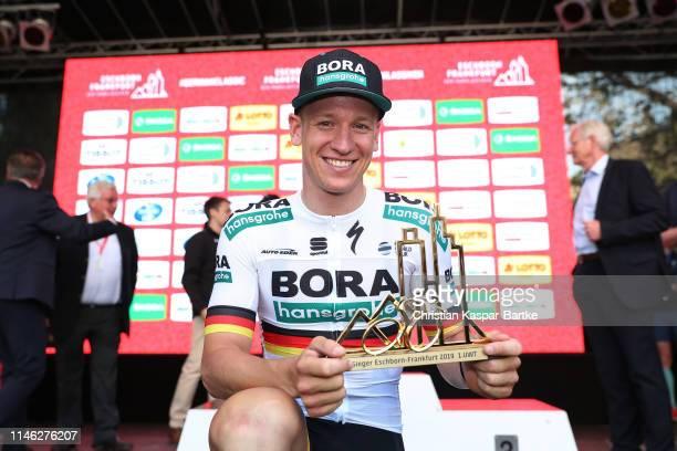 Podium / Pascal Ackermann of Germany and Team BoraHansgrohe / Celebration / Trophy / during the 58th Rund um den Finanzplatz EschbornFrankfurt 2019 a...