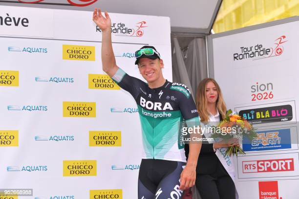 Podium / Pascal Ackermann of Germany and Team Bora-Hansgrohe / Celebration / during the 72nd Tour de Romandie 2018, Stage 5 a 181,8km stage from...
