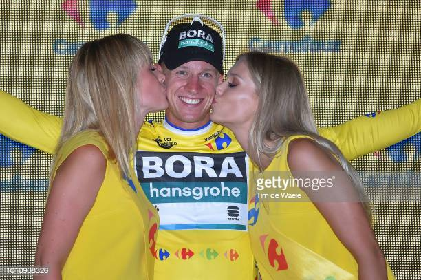 Podium / Pascal Ackermann of Germany and Team Bora-Hansgrohe Yellow Leader Jersey / Celebration / during the 75th Tour of Poland 2018, Stage 1 a...