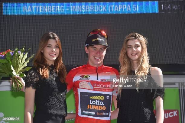 Podium / Pascal Eenkhoorn of The Netherlands and Team LottoNL - Jumbo Red Sprint Jersey / Celebration / Flowers / during the 42nd Tour of the Alps...
