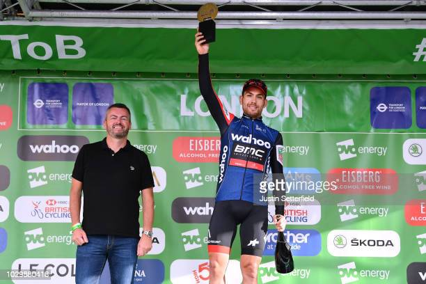 Podium / Patrick Bevin of New Zealand and BMC Racing Team Blue Points Jersey / Celebration / during the 15th Tour of Britain 2018 Stage 8 a 77km...