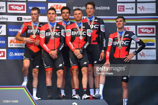 Podium / Patrick Bevin of New Zealand / Damiano Caruso of Italy / Rohan Dennis of Australia / Stefan Kung of Switzerland / Greg Van Avermaet of...