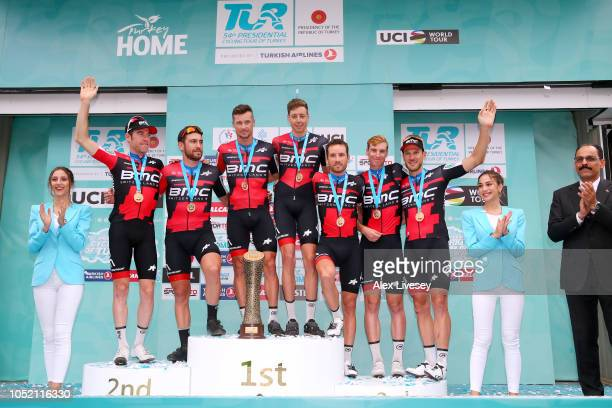 Podium / Patrick Bevin of New Zealand / Tom Bohli of Switzerland / Brent Bookwalter of The United States / Jean Pierre Drucker of Luxembourg / Kilian...