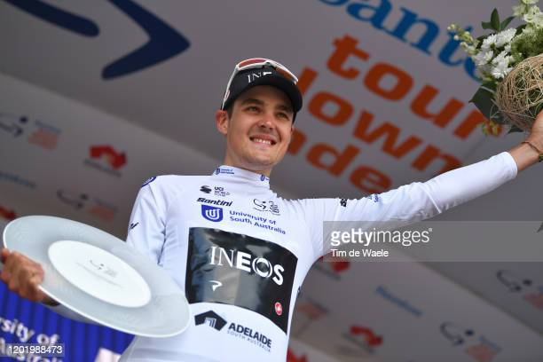 Podium / Pavel Sivakov of Russia and Team INEOS White Best Young Jersey / Celebration / Trophy / during the 22nd Santos Tour Down Under 2020, Stage 6...