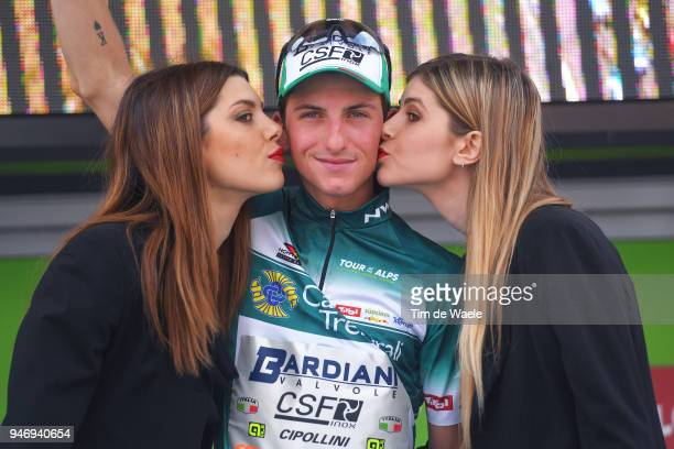 Podium / Pello Bilbao of Italy and Team Bardiani CSF green mountain jersey / Celebration / during the 42nd Tour of the Alps 2018 Stage 1 a 1346km...