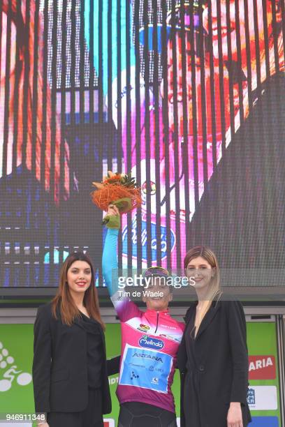 Podium / Pello Bilbao of Spain and Astana Pro Team Pink Leader Jersey / Celebration / during the 42nd Tour of the Alps 2018 Stage 1 a 1346km stage...
