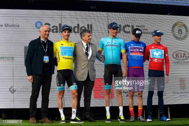 Podium / Pello Bilbao of Spain and Astana Pro Team Yellow Leader Jersey / Luis Leon Sanchez of Spain and Astana Pro Team / Ruben Fernandez of Spain...